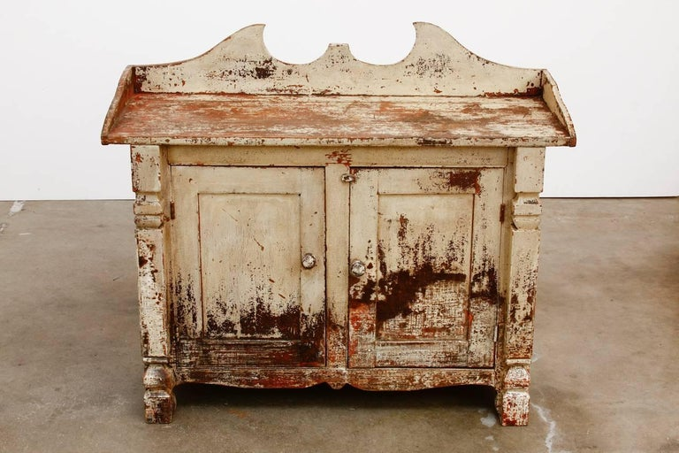 Lacquered 19th Century Country French Painted Washstand Cabinet  For Sale
