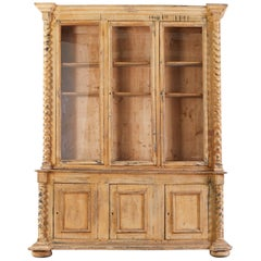 19th Century Country French Pine Barley Twist Bibliotheque Bookcase