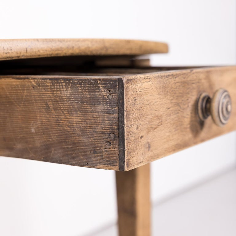 19th Century Country French Primitive Bleached Walnut Oval Side Table For Sale 7