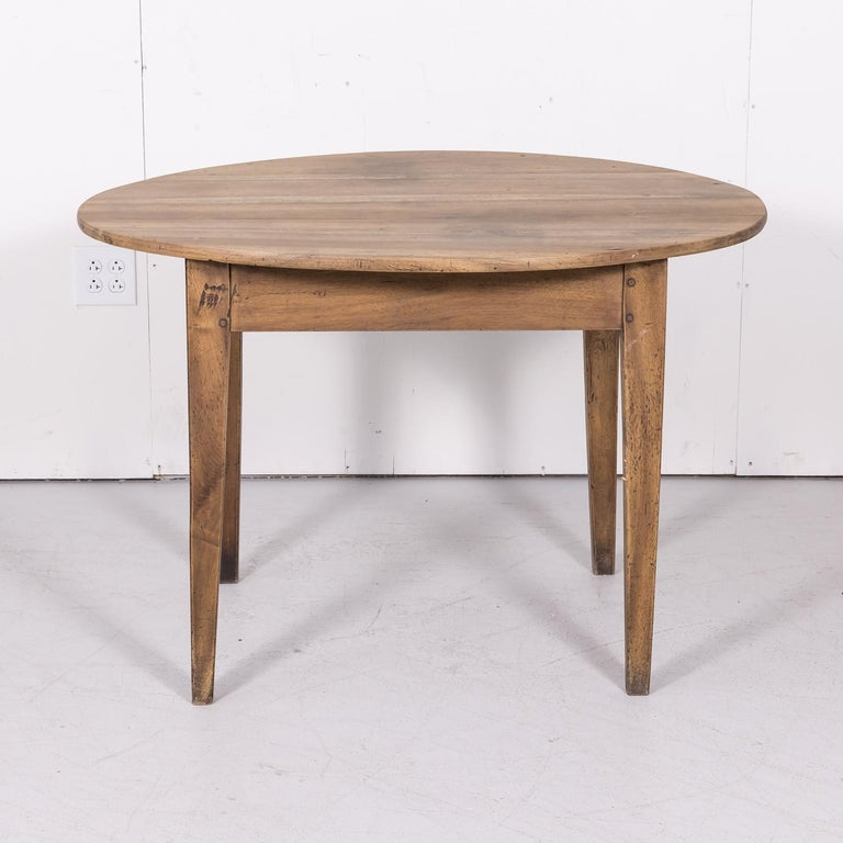 19th Century Country French Primitive Bleached Walnut Oval Side Table For Sale 8