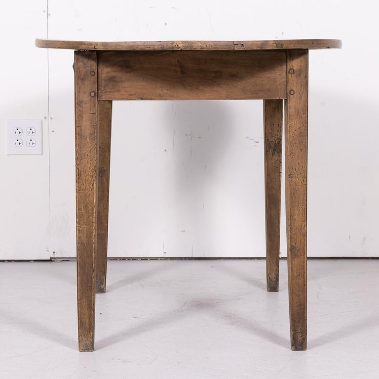 19th Century Country French Primitive Bleached Walnut Oval Side Table For Sale 10