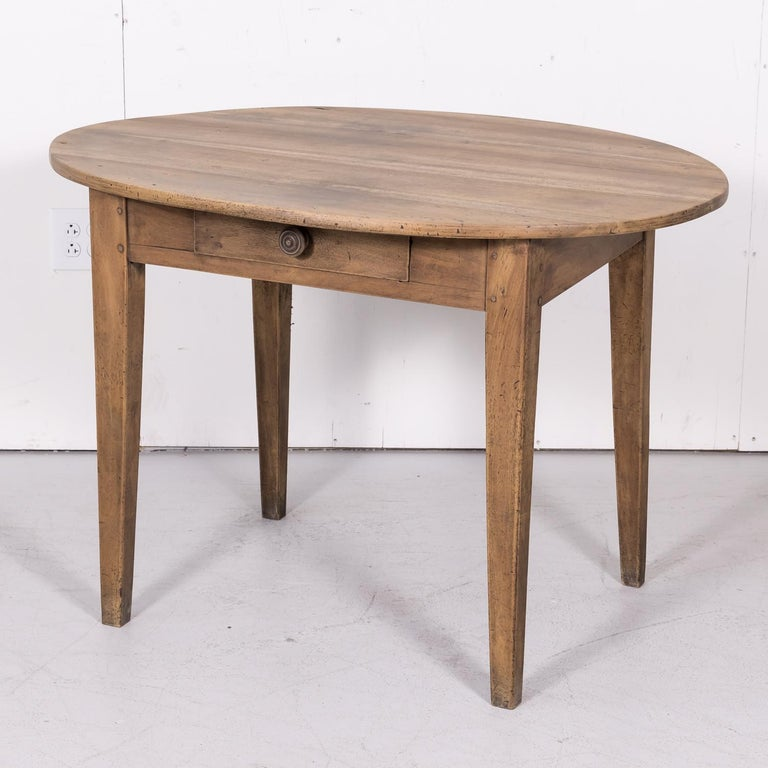 19th Century Country French Primitive Bleached Walnut Oval Side Table For Sale 12