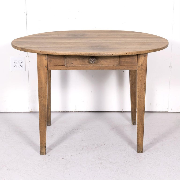 19th Century Country French Primitive Bleached Walnut Oval Side Table For Sale 13