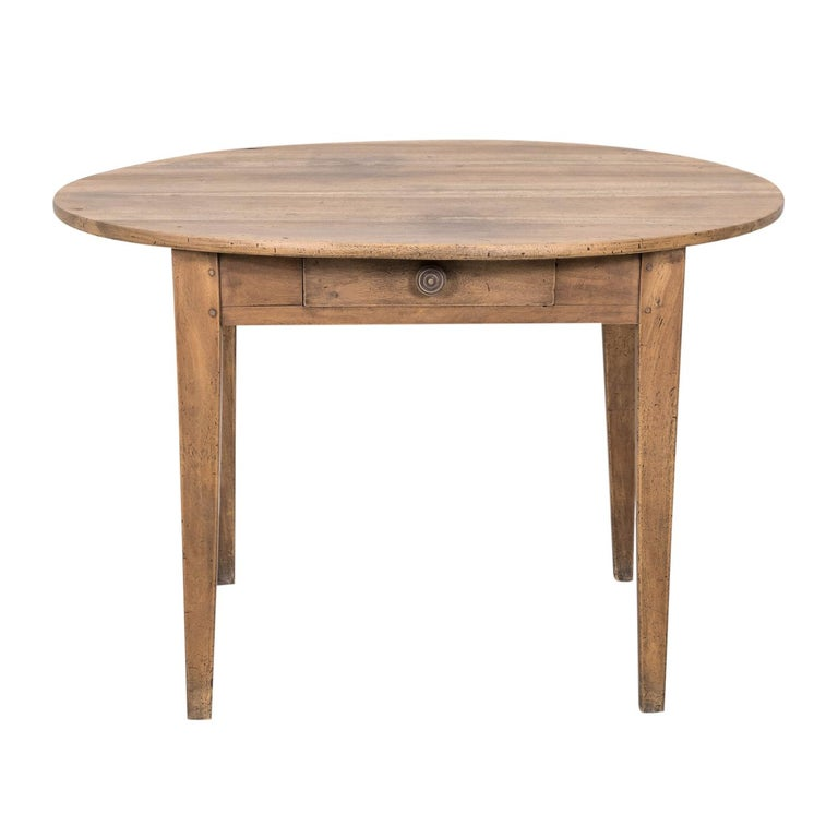 19th Century Country French Primitive Bleached Walnut Oval Side Table In Good Condition For Sale In Birmingham, AL