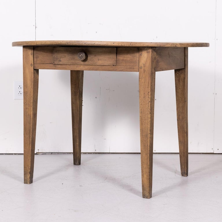 Late 19th Century 19th Century Country French Primitive Bleached Walnut Oval Side Table For Sale