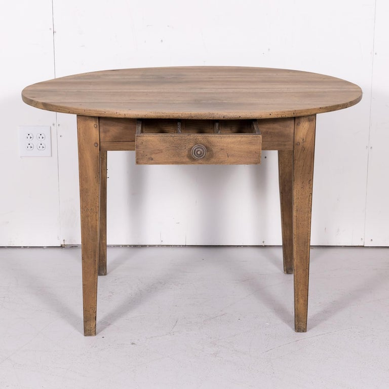 19th Century Country French Primitive Bleached Walnut Oval Side Table For Sale 3