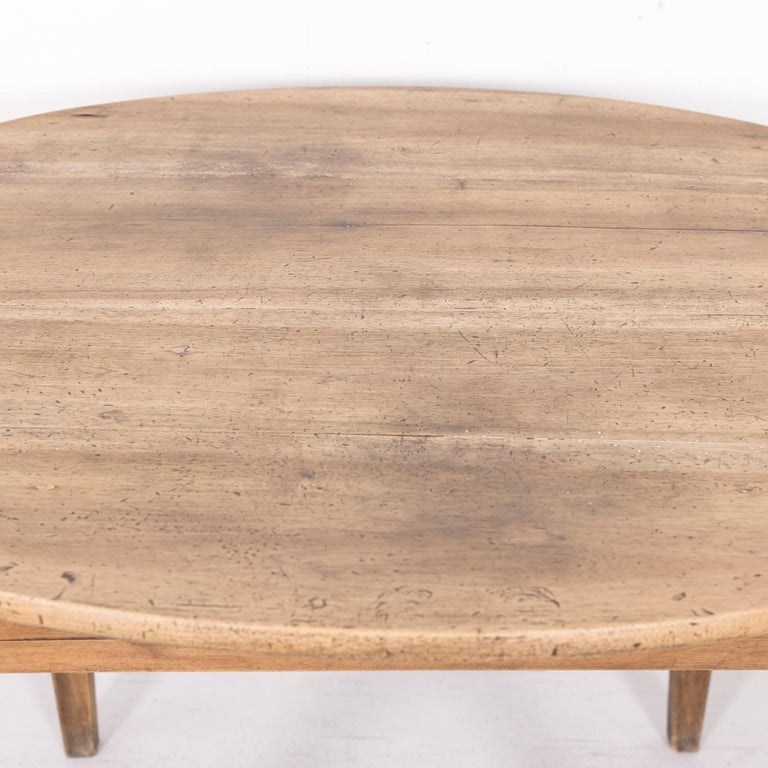 19th Century Country French Primitive Bleached Walnut Oval Side Table For Sale 4