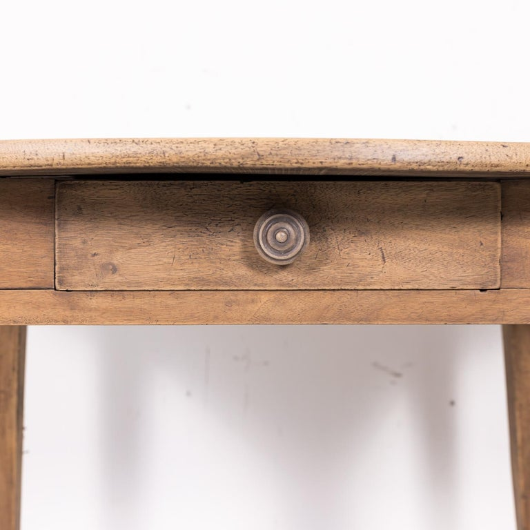 19th Century Country French Primitive Bleached Walnut Oval Side Table For Sale 5