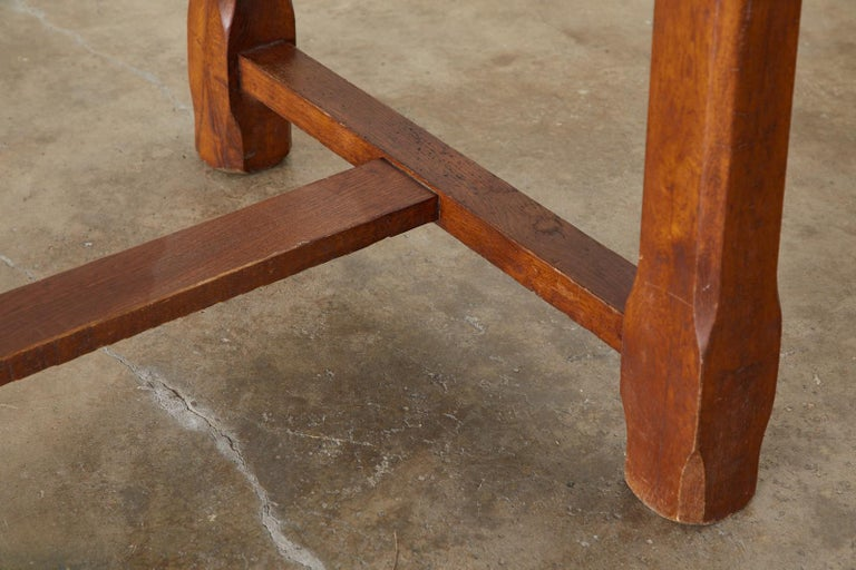 19th Century Country French Provincial Farmhouse Trestle Table For Sale 5