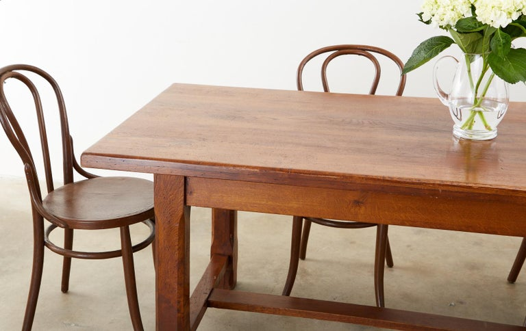 19th Century Country French Provincial Farmhouse Trestle Table For Sale 6