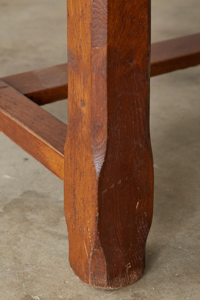 19th Century Country French Provincial Farmhouse Trestle Table For Sale 8