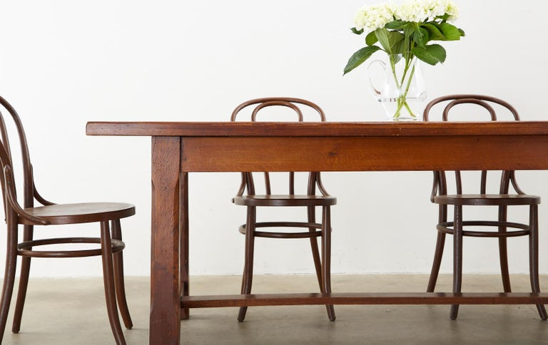 19th Century Country French Provincial Farmhouse Trestle Table For Sale 9