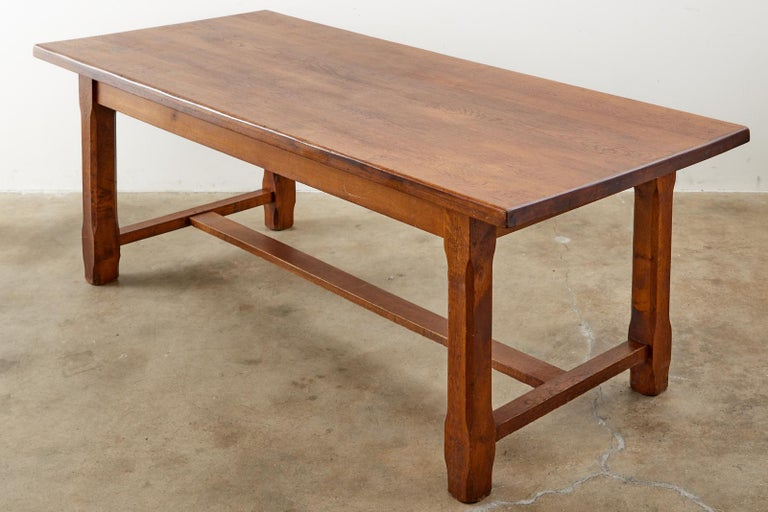 Hand-Crafted 19th Century Country French Provincial Farmhouse Trestle Table For Sale