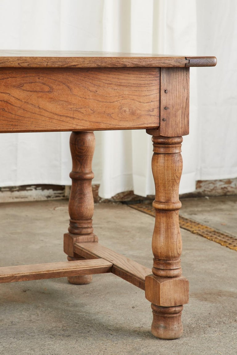 19th Century Country French Provincial Oak Farmhouse Dining Table For Sale 8