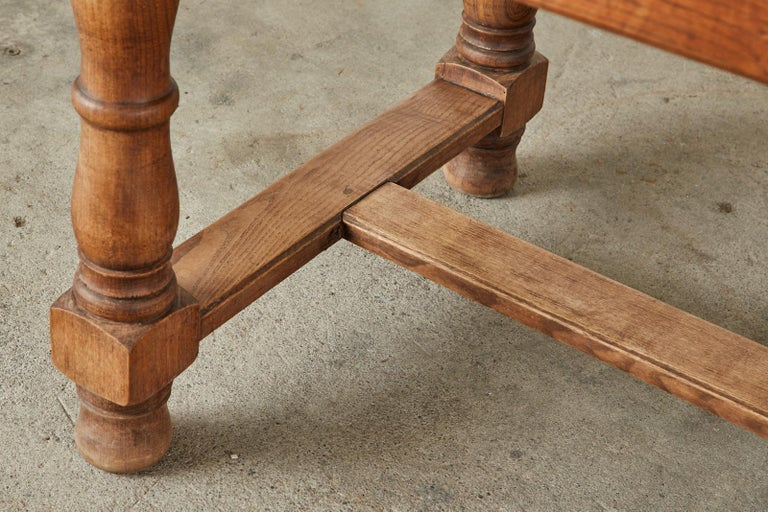 19th Century Country French Provincial Oak Farmhouse Dining Table For Sale 10