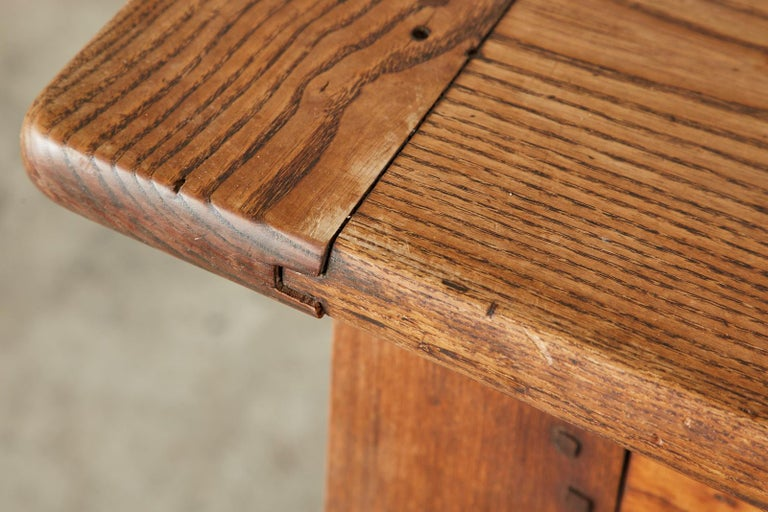 19th Century Country French Provincial Oak Farmhouse Dining Table For Sale 14