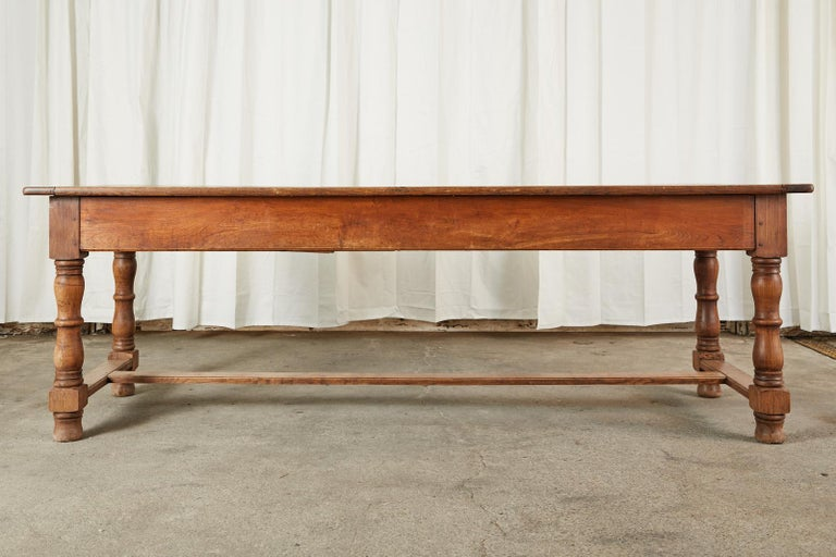 19th Century Country French Provincial Oak Farmhouse Dining Table For Sale 16