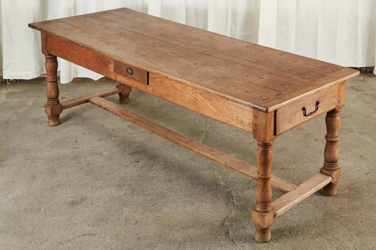 Hand-Crafted 19th Century Country French Provincial Oak Farmhouse Dining Table For Sale