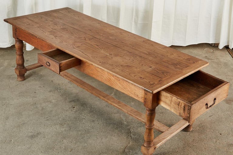 19th Century Country French Provincial Oak Farmhouse Dining Table In Good Condition For Sale In Rio Vista, CA
