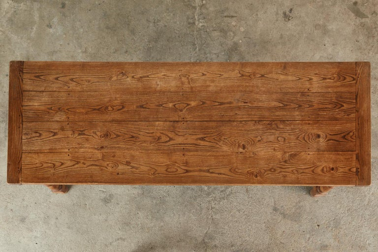 19th Century Country French Provincial Oak Farmhouse Dining Table For Sale 1
