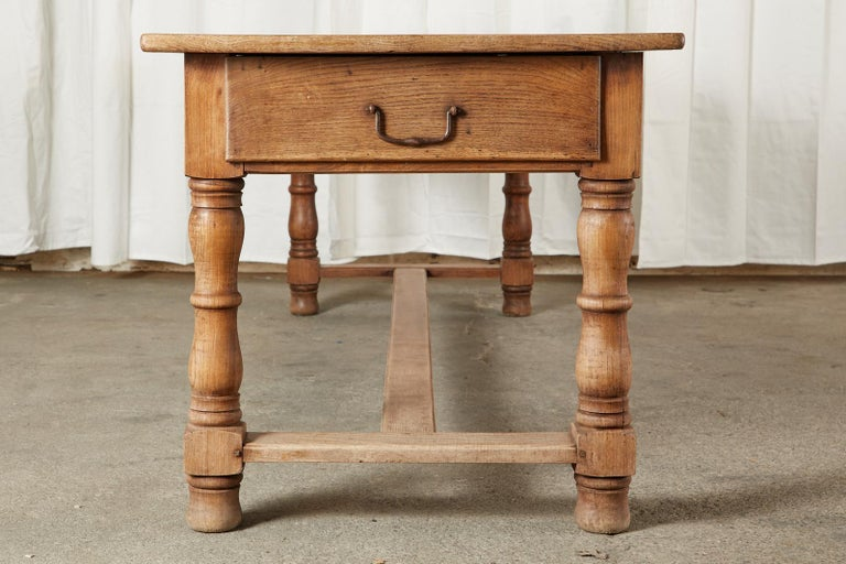 19th Century Country French Provincial Oak Farmhouse Dining Table For Sale 2