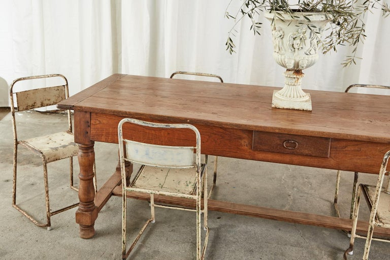 19th Century Country French Provincial Oak Farmhouse Dining Table For Sale 3