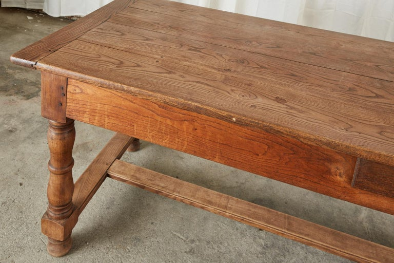 19th Century Country French Provincial Oak Farmhouse Dining Table For Sale 5