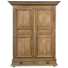 19th Century Country French Provincial Stripped Armoire from Loire