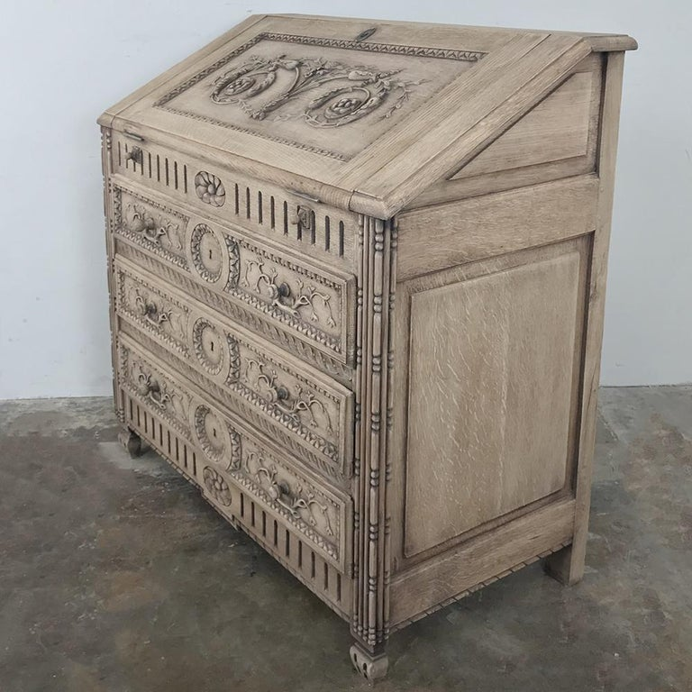 Louis XVI 19th Century Country French Provincial Stripped Oak Secretary For Sale