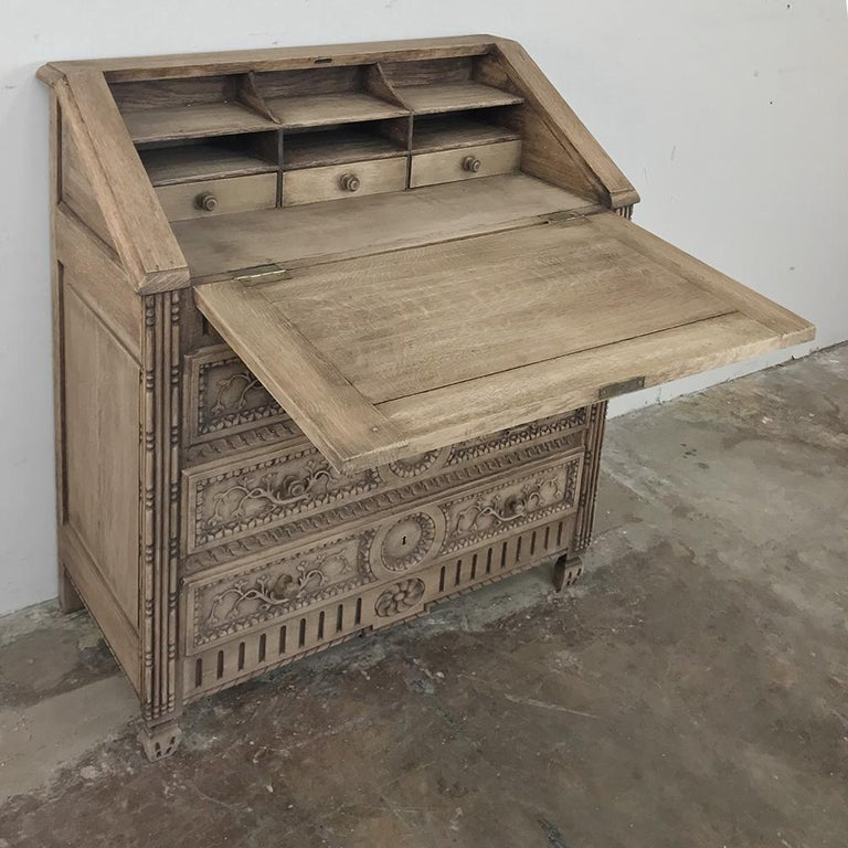 Hand-Carved 19th Century Country French Provincial Stripped Oak Secretary For Sale