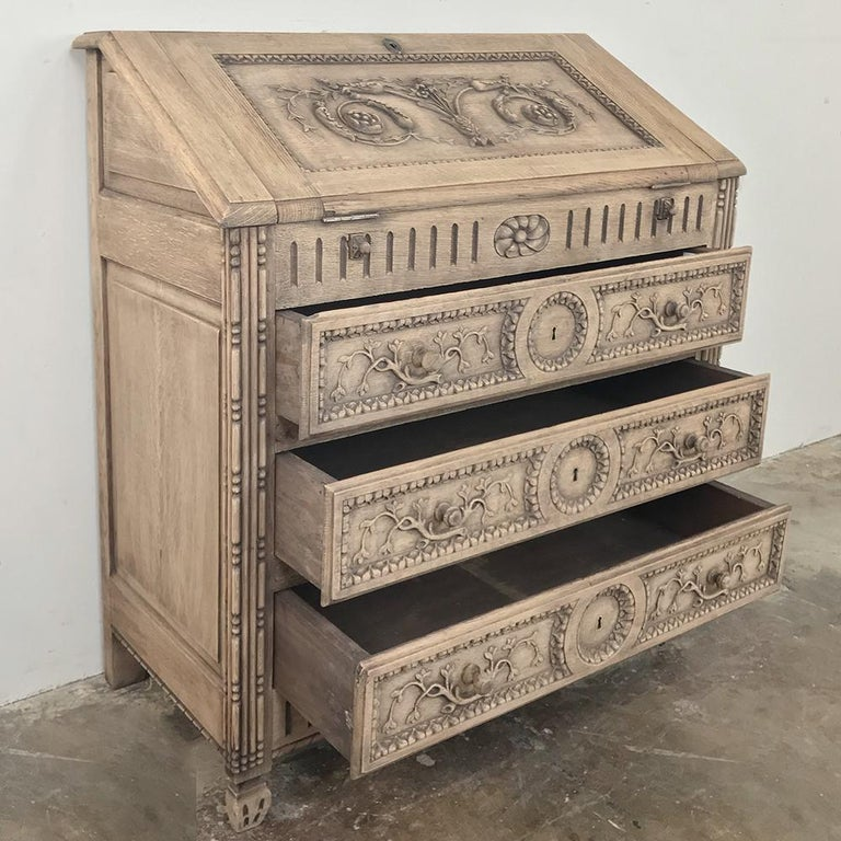 Late 19th Century 19th Century Country French Provincial Stripped Oak Secretary For Sale