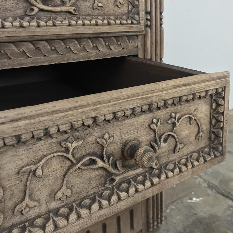 19th Century Country French Provincial Stripped Oak Secretary For Sale 1
