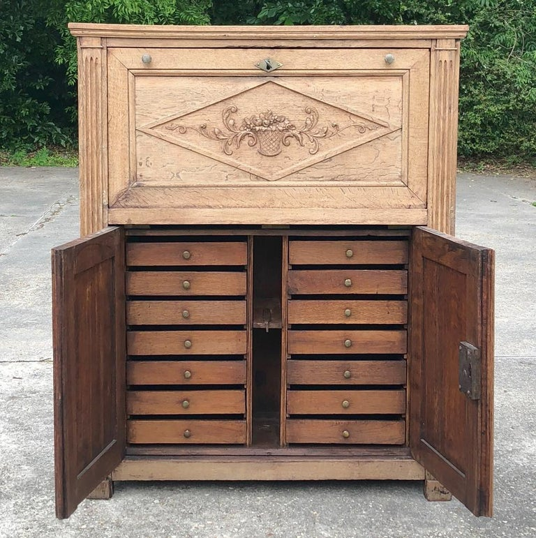 Neoclassical Revival 19th Century Country French Rustic Stripped Secretary