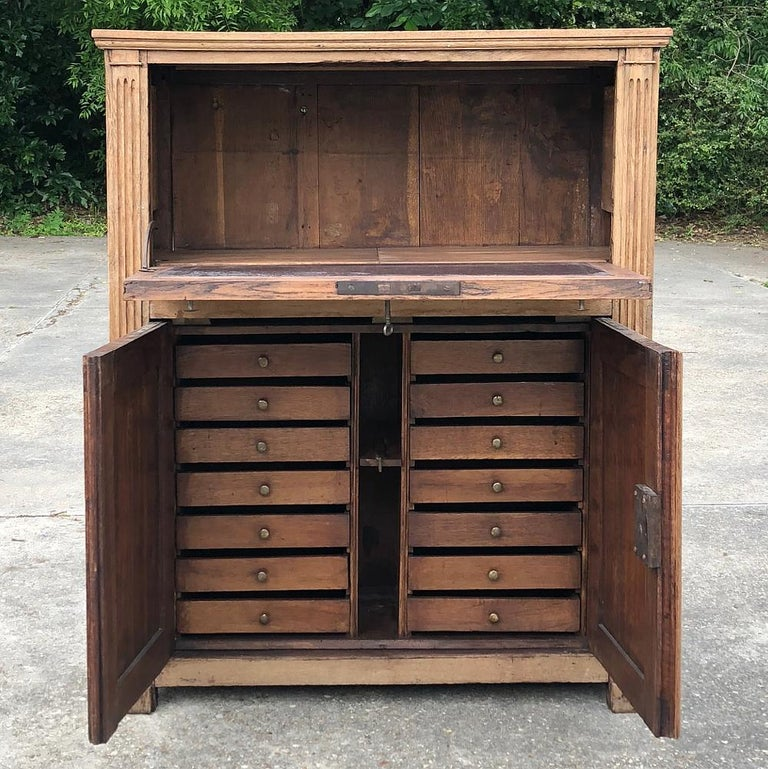 Hand-Carved 19th Century Country French Rustic Stripped Secretary