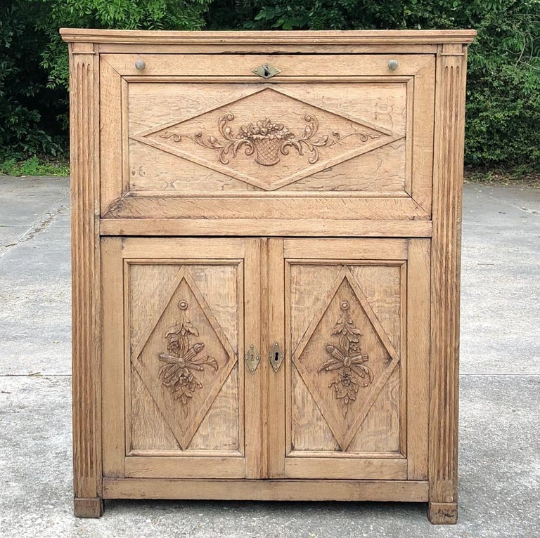 Oak 19th Century Country French Rustic Stripped Secretary