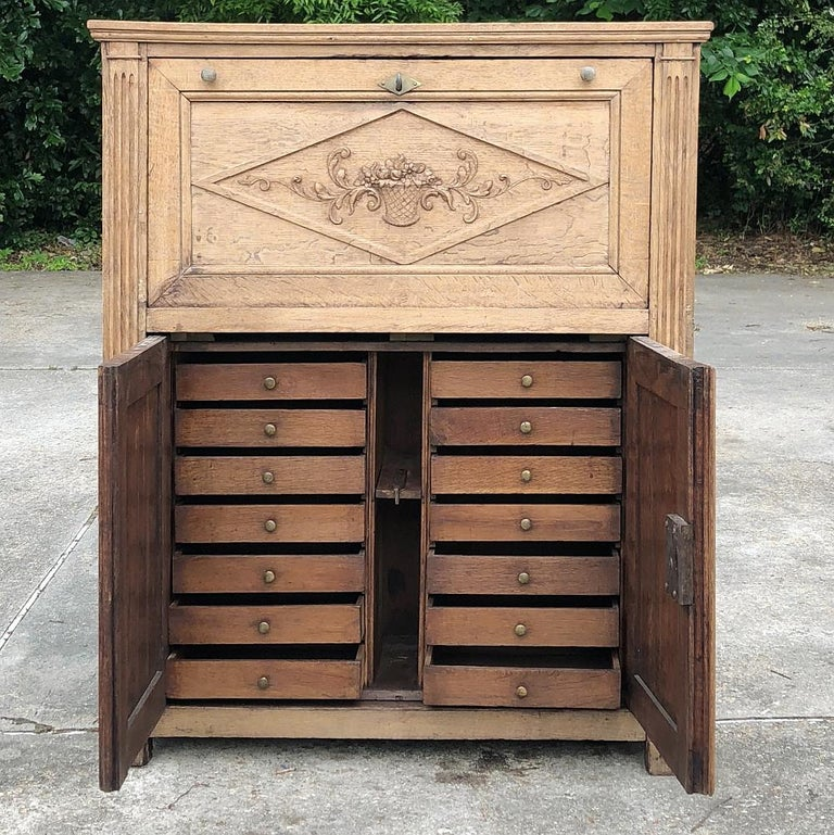19th Century Country French Rustic Stripped Secretary 1