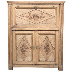 19th Century Country French Rustic Stripped Secretary