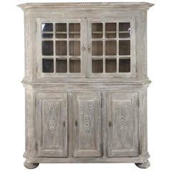 19th Century Country French Rustic Whitewashed Bookcase, Cabinet
