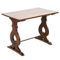 19th Century Country French Walnut Side Table or Console with Iron Stretcher