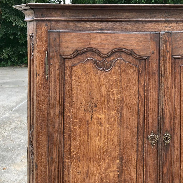 Hand-Carved 19th Century Country French Wardrobe, Cabinet For Sale
