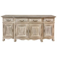 19th Century Country French Whitewashed Step-Front Buffet