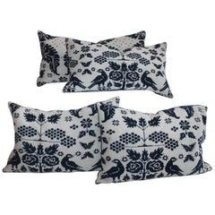 19th Century Coverlet Bird Pillows Collection, Four Pillows