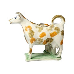 19th Century Cow Creamer Figure Yorkshire Pottery Rare Hobbled Leg Version