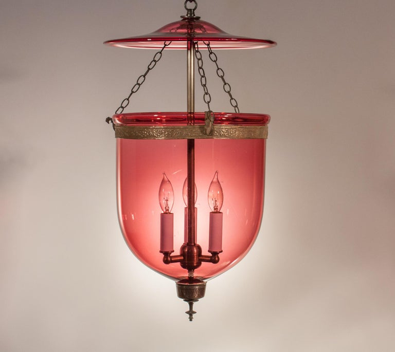 Victorian 19th Century Cranberry Glass Bell Jar Lantern For Sale