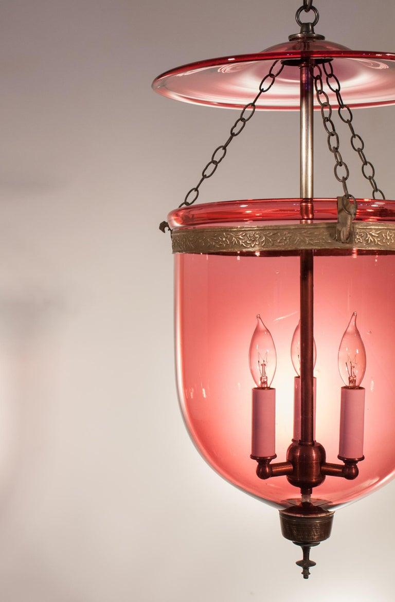 English 19th Century Cranberry Glass Bell Jar Lantern For Sale