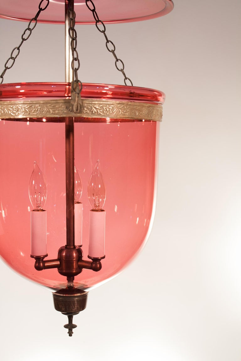 Embossed 19th Century Cranberry Glass Bell Jar Lantern For Sale