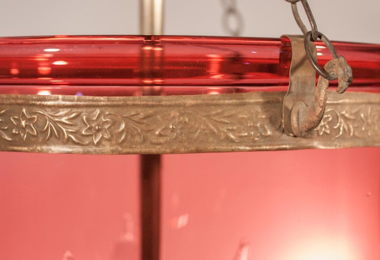 19th Century Cranberry Glass Bell Jar Lantern In Good Condition For Sale In Shelburne Falls, MA