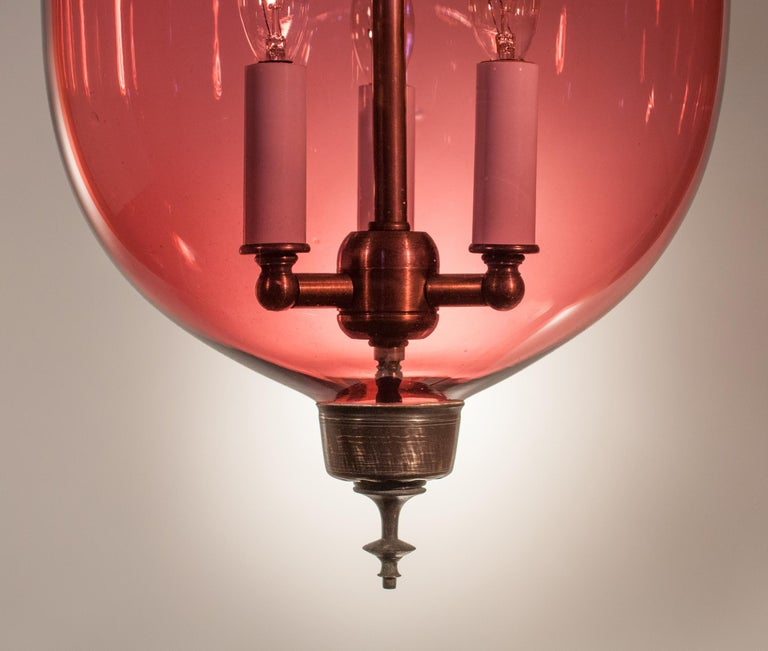 19th Century Cranberry Glass Bell Jar Lantern For Sale 2