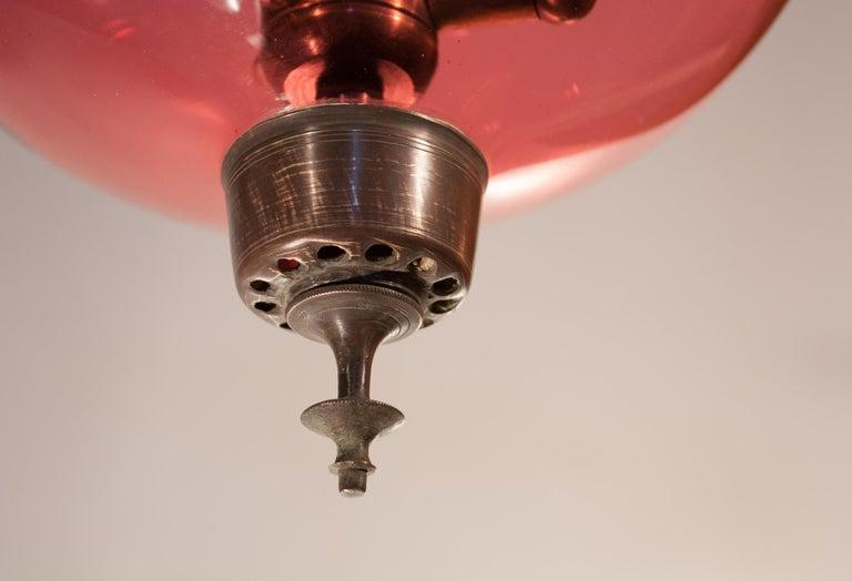 19th Century Cranberry Glass Bell Jar Lantern For Sale 3