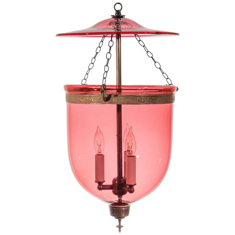 19th Century Cranberry Glass Bell Jar Lantern For Sale